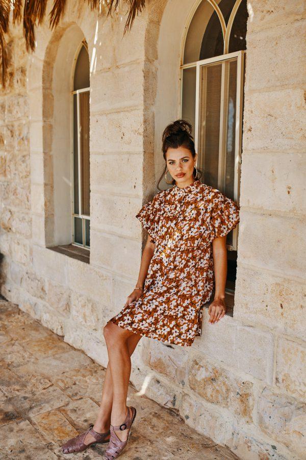שמלת מארס קאמל פרחונית
