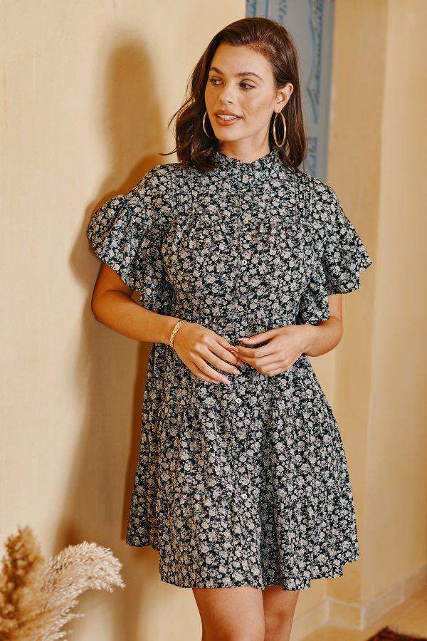 שמלת מארס שחורה פרחונית