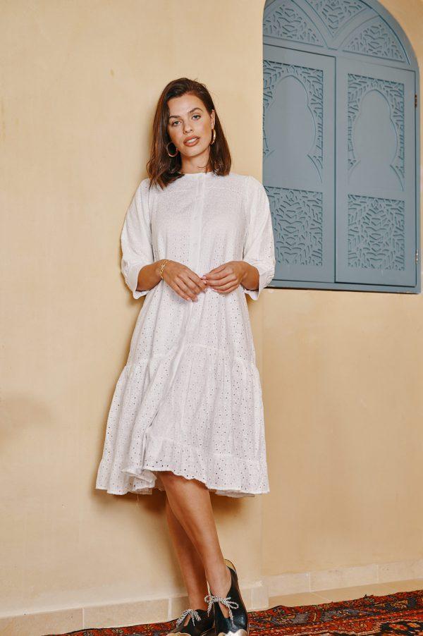 שמלת ונוס תחרה לבנה